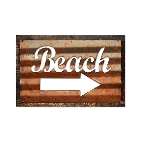 Vintage Beach Corrugated Rustic Barn Wood Sign 19 x 26 Inches