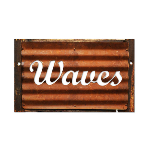 Vintage Waves Corrugated Rustic Barn Wood Sign 19 x 26 Inches