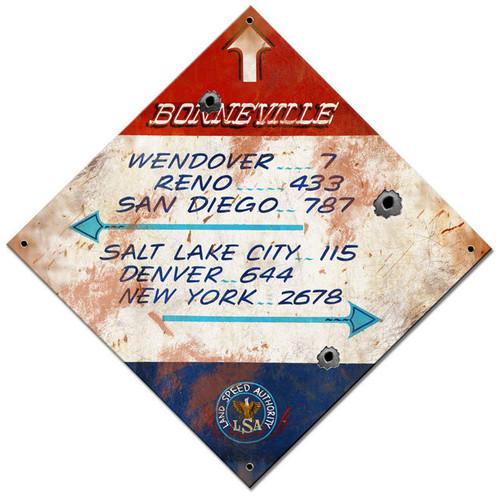 Bonneville Distance  Custom Shape Metal Sign 17 x 17 Inches