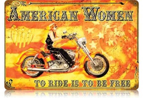 Retro American Women Metal Sign 18 x 12 Inches
