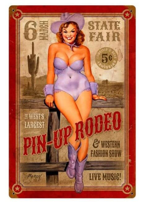 Pin up Rodeo Metal Sign   12 x 18 Inches