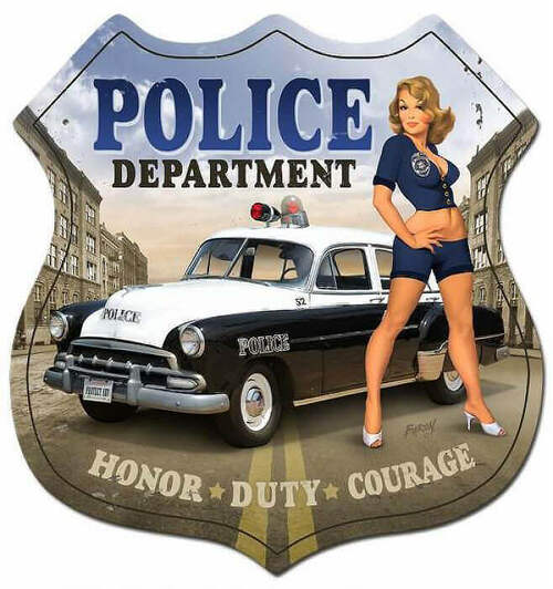 Retro Police Department Shield  - Pin-Up Girl Metal Sign 15 x 15 Inches