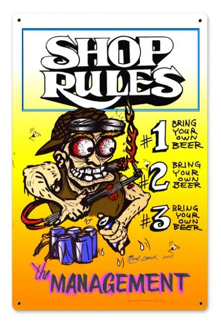 Vintage Shop Rules Metal Sign 12 x 18 Inches