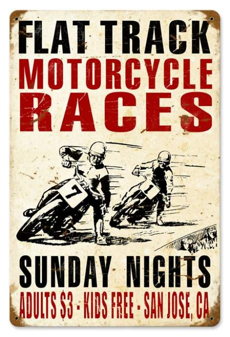 Vintage Motorcycle Races Metal Sign    12 x 18 Inches