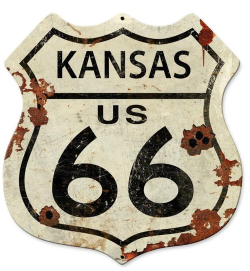 Kansas US Route 66 Shield Metal Sign 15 x 15 Inches