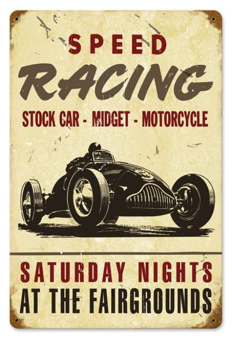 Vintage Speed Racing Metal Sign 12 x 18 Inches