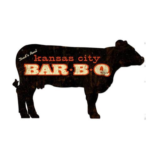 Kansas City BBQ Cow Custom Shape Metal Sign 28 x 16 Inches