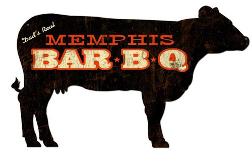 Memphis BBQ Cow Custom Shape Metal Sign 28 x 16 Inches
