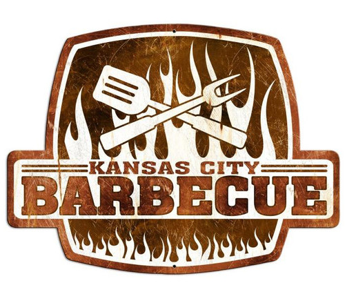 Kansas City Barbecue Custom Shape Metal Sign 25 x 19 Inches