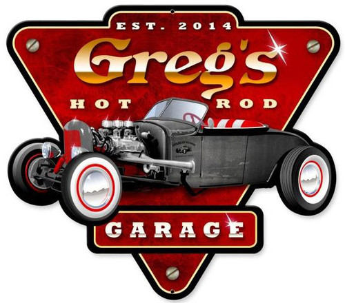 Hot Rod Garage Metal Sign - Personalized  14 x 15 Inches
