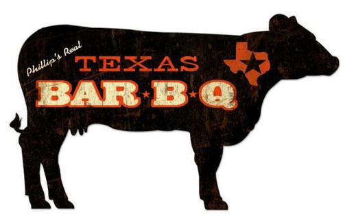 BBQ Cow Metal Sign - Personalized  28 x 16 Inches