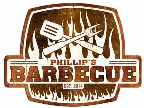 Barbecue Metal Sign - Personalized  25 x 19 Inches