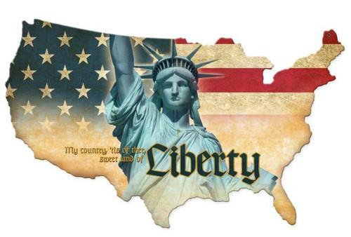 Liberty USA Custom Shape  Retro Metal Sign 25 x 16 Inches