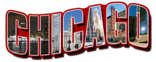 Chicago Landmarks Custom Shape Metal Sign 24 x 11 Inches