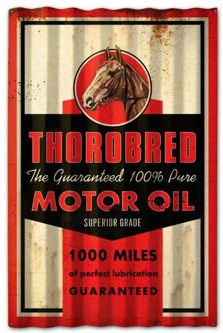 Thorobred Motor Oil Corrugated Rustic Barn  Sign 16 x 24 Inches