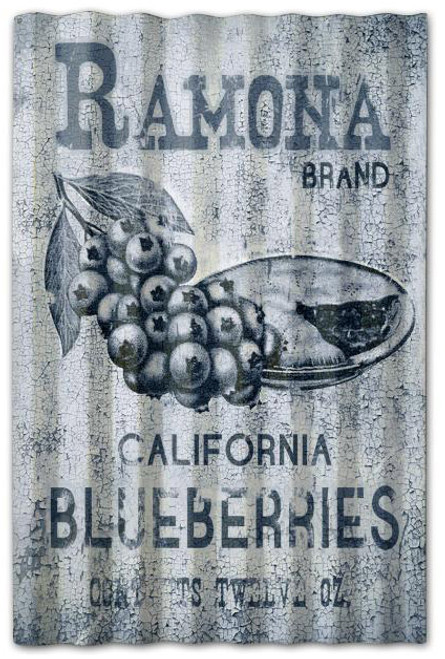 Ramona Blueberries Corrugated Rustic Barn  Sign 16 x 24 Inches