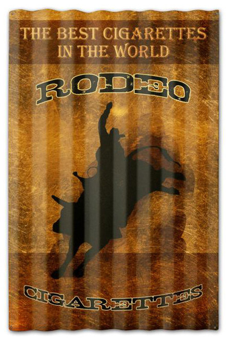 Rodeo Cigarettes Corrugated Rustic Barn  Sign 16 x 24 Inches