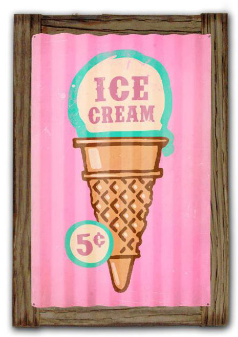 Ice Cream  Corrugated Rustic Metal and  Barn Wood Sign 16 x 24 Inches