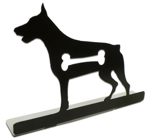 Doberman Silhouette Dog Metal Table Topper 9 x 6 Inches