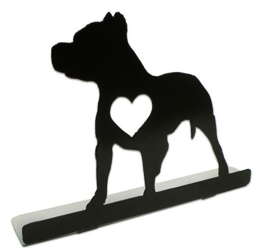 Pit Bull Silhouette Dog Metal Table Topper 9 x 6 Inches