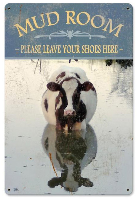 Mud Room Cow Metal Sign 12 x 18 Inches