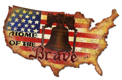 Home Of The Brave Custom  Shape Metal Sign 25 x 16 Inches