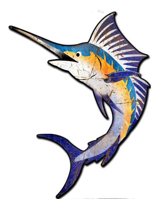 Marlin Sport Fish Custom  Shape Metal Sign 24 x 18 Inches