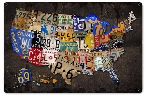 Retro License Plate USA Board Metal Sign 18 x 12 Inches