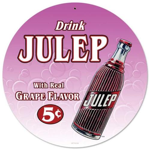 Vintage Drink Julip Round Metal Sign 14 x 14 Inches