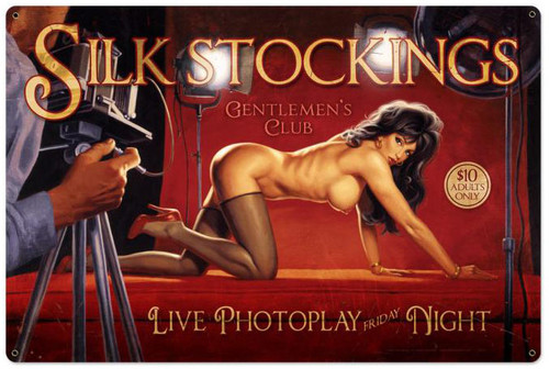 Silk Stockings  Pin Up Girl Metal Sign 36 x 24 Inches