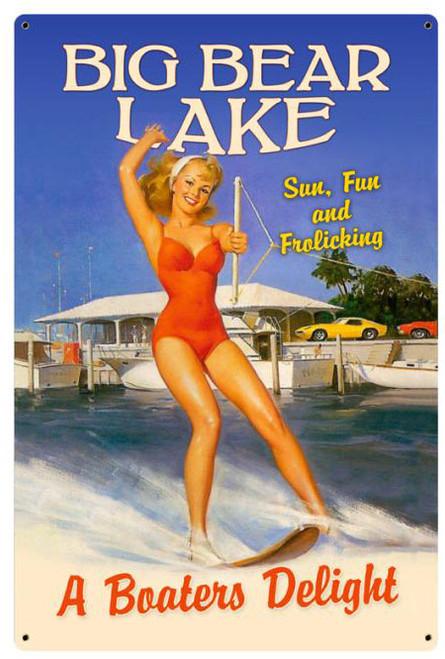 Frolicking Big Bear Lake Metal Sign 12 x 18 Inches
