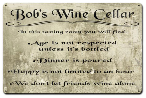 Wine Cellar Personalized Sign 18 x 12 Inches