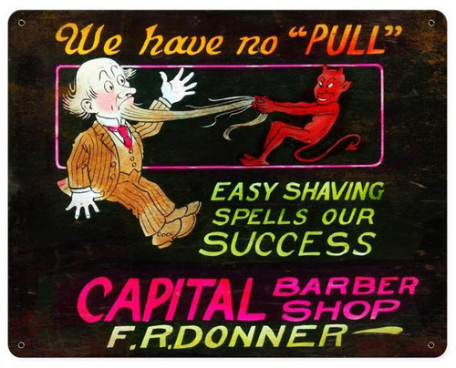 We Have No Pull Barber Shop Vintage Metal Sign 15  x 12 Inches