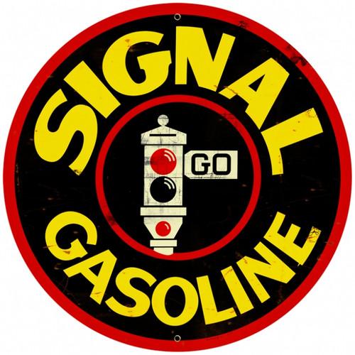 Retro Signal Gasoline Round Metal Sign 28 x 28 Inches