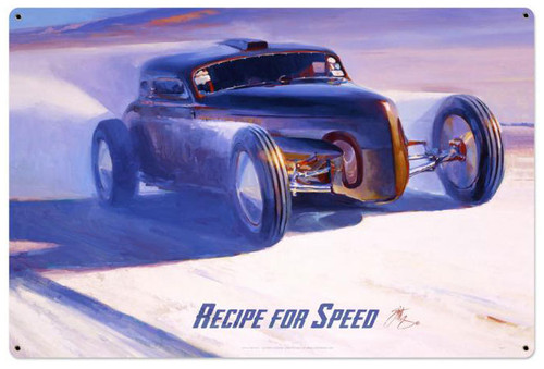 Recipe For Speed  Metal Sign 36  x 24 Inches