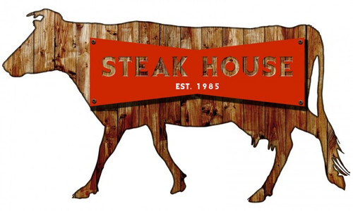 Steakhouse 3D Metal Sign 30 x 18 Inches