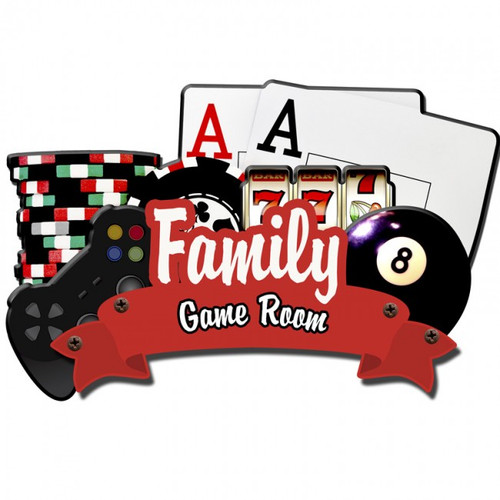 Family Game Room 3D Layered Metal Sign - Personalized 24 x 14 Inches