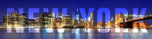 New York City Skyline Metal Sign 8 x 20 Inches