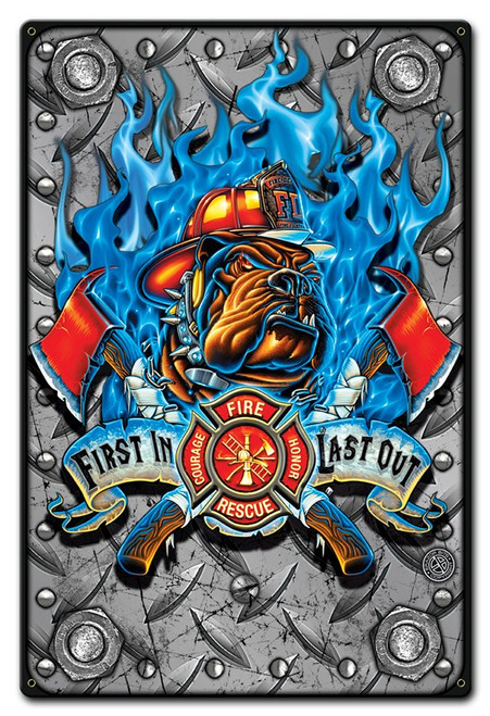 First In Last Out Metal Sign 12 x 18 Inches