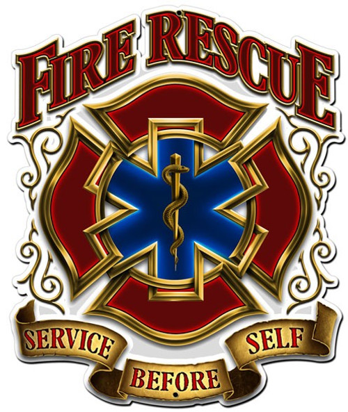 Fire Rescue Service Metal Sign 14 x 16 Inches