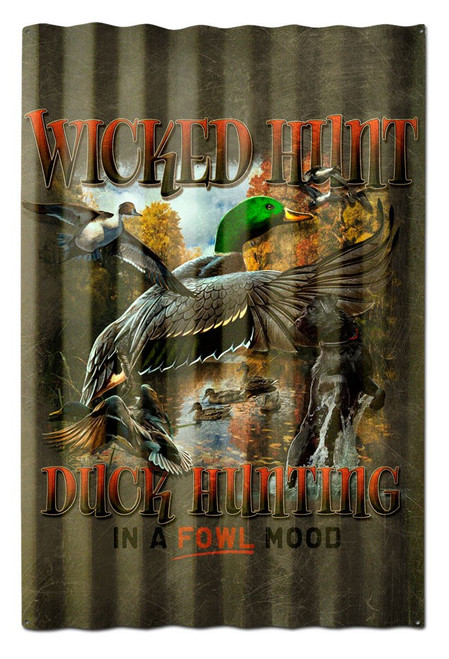 Duck Hunter Brown Background Corrugated Metal Sign 16 x 24 Inches