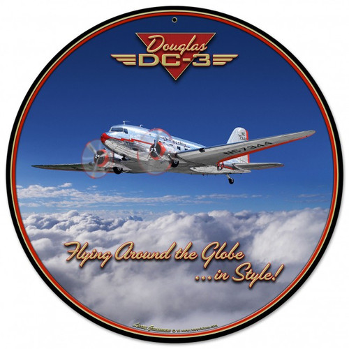 Dc-3 Airplane Round Metal Sign Round Metal Sign 28 x 28 Inches