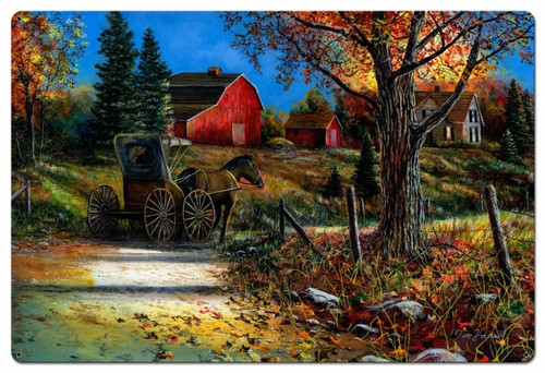 Country Roads Metal Sign 36 x 24 Inches
