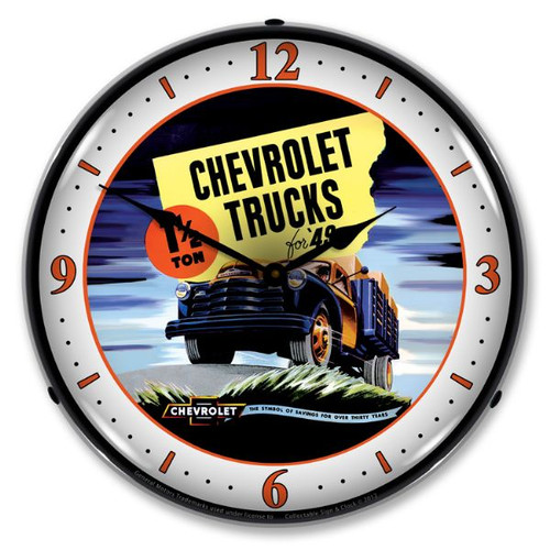 1949 Chevrolet Truck Lighted Wall Clock 14 x 14 Inches
