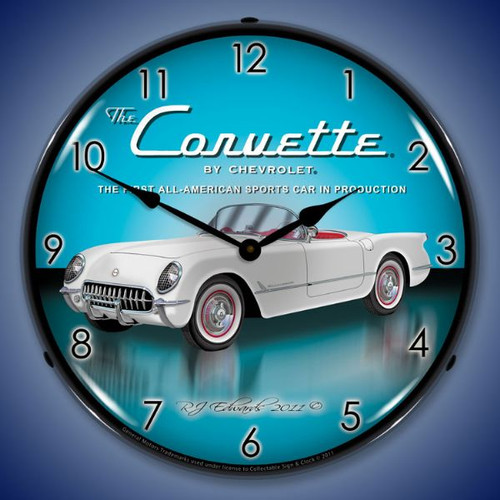 1953 Corvette Lighted Wall Clock 14 x 14 Inches