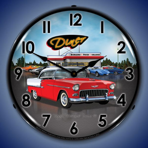 1955 Bel Air Diner Lighted Wall Clock 14 x 14 Inches