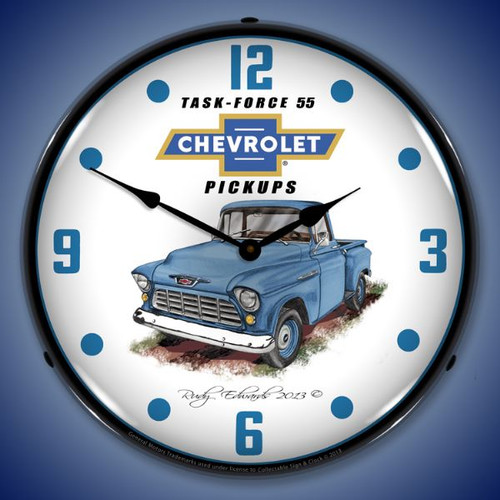 1955 Chevrolet Truck Lighted Wall Clock 14 x 14 Inches