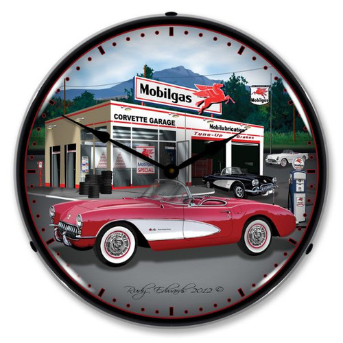 1957 Corvette Lighted Wall Clock 14 x 14 Inches