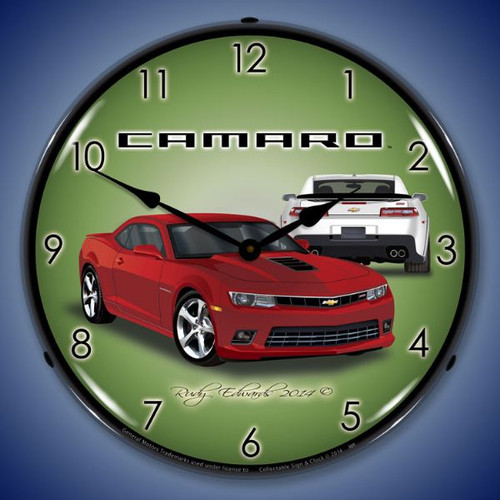 2014 SS Camaro Red Rock Lighted Wall Clock 14 x 14 Inches