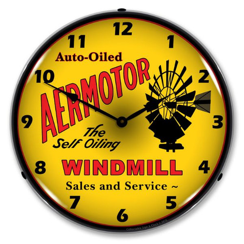 Aermotor Windmill Lighted Wall Clock 14 x 14 Inches